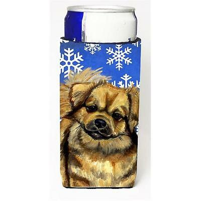 Tibetan Spaniel Winter Snowflakes Holiday Michelob Ultra bottle sleeves For S...