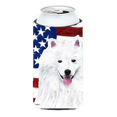 Usa American Flag With American Eskimo Tall Boy bottle sleeve Hugger 22 To 24...