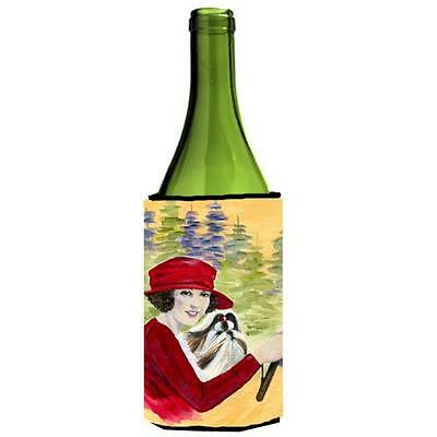 Lady Driving With Her Shih Tzu Wine bottle sleeve Hugger 24 oz.