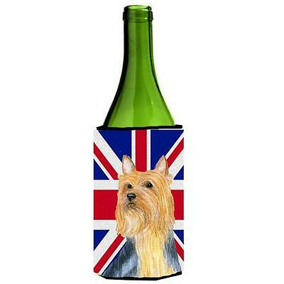 Silky Terrier With English Union Jack British Flag Wine bottle sleeve Hugger ...