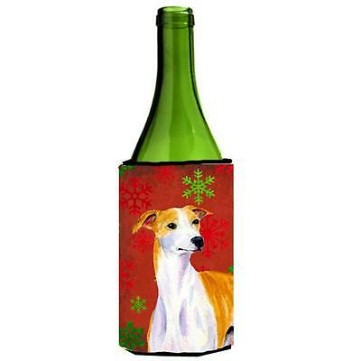Whippet Red And Green Snowflakes Holiday Christmas Wine bottle sleeve Hugger
