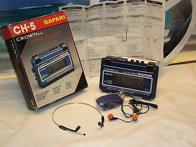 Vintage  Crown CH-5 AM / FM Stereo Radio / Cassette Player  WALKMAN