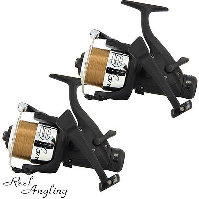 2 Carp Coarse Fishing Reels EG60 Bait Free Runner With 10Lb Line NGT Tackle
