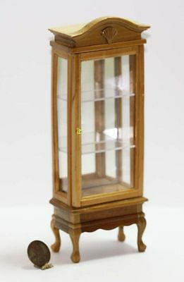 Dollhouse Miniature Traditional Natural Wood Mirror Back Display Cabinet