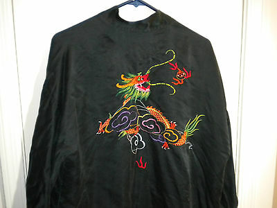 vintage chinese silk robe embroidered dragon black