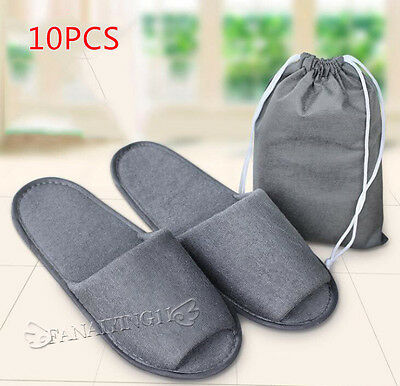 10pair/lot Gray Breathable Disposable Slippers Hotel Slippers SPA Slippers SL001