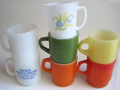 Vintage Lot 7 Colorful Cups Mugs Anchor Hocking Fire King Glasbake 1 Advertising