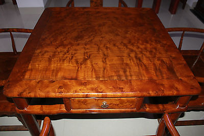 Bird-eye Maple Wood Chinese antique furniture-four chairs with a quadrate table
