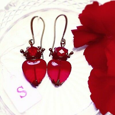 Ruby Red Vintage Style Heart Earrings Antique Bronze, Silver, Gold Retro PinUp