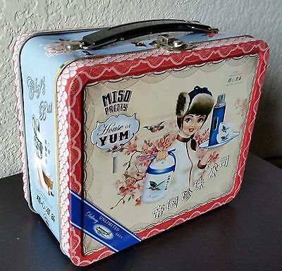Rare Vintage Japanese Miso Pretty House of Yum 2006 Blue Q Tin Lunch Pal Box