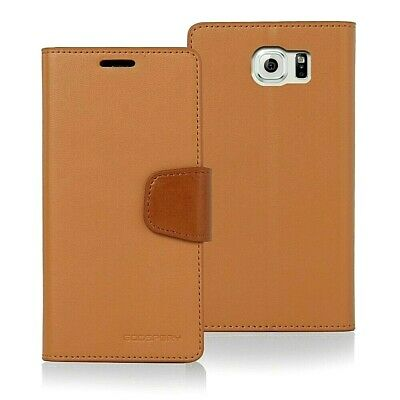Genuine MERCURY Goospery Leather Light Brown/Camel Flip Case Cover For Galaxy S6