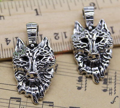 4/20/50/100pcs retro Jewelry Making DIY Wolf face alloy charms pendant 32x17mm