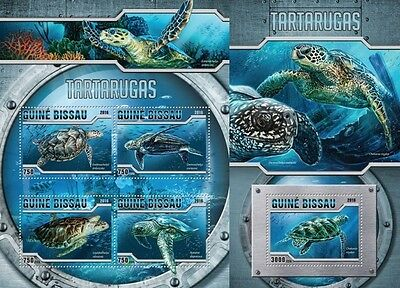 Z08 Imperforated GB16304ab GUINEA-BISSAU 2016 Turtles MNH Set