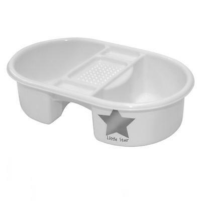 Strata Little Star Baby Bathing Top n Tail Wash Bowl White with Silver Star