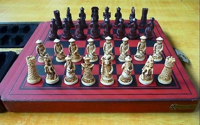 Chinese wood Leather box with 32 Warrior Chess Set
