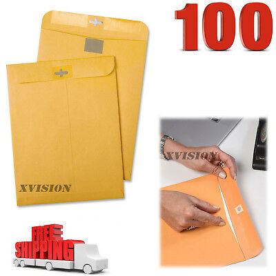 100 Business Envelopes 9x12 Kraft Clasp Manila Catalog Yellow Brown Flap New