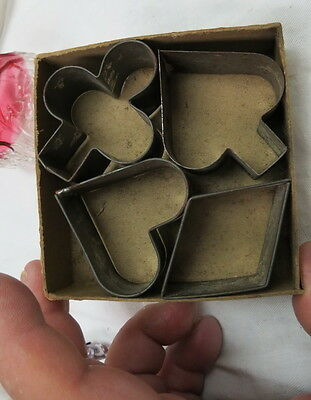 rare miniature childrens set tin cookie / biscuit cutters pricker still in box