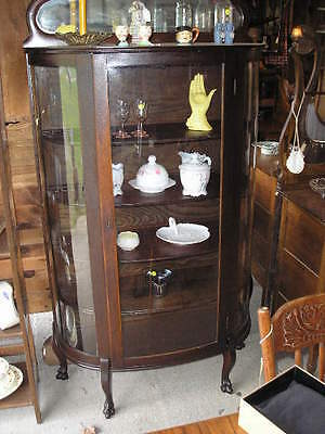 Antique Mahogany Curved Glass China Cabinet With  Claw Feet