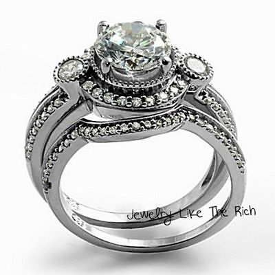 14k White Gold Sterling Silver Round Diamond cut Engagement Ring Wedding Set 5-9