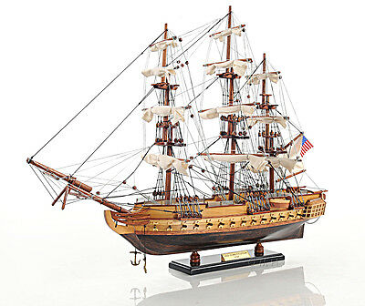 "USS Constitution Old Ironsides Tall Ship Assembled 31"" Built Wooden Model Boat"