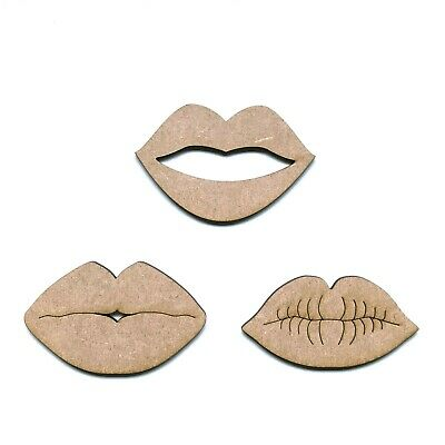 Wooden MDF Lips Kiss Shape 3mm Thick Tags Embellishments Decoration Craft