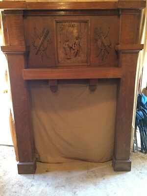 Antique Wooden Fireplace Mantle with Indian Motif