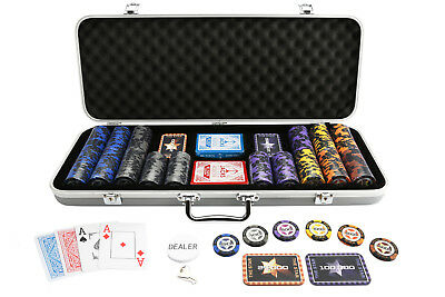 400 Chips High Roller The Star Poker Set 14g Chips 10 Plaques Silver Case