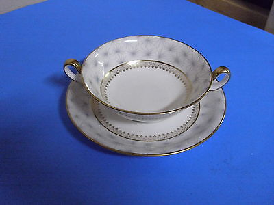 Spode Bone China Thistledown Cream Onion Soup Bowl + Saucer Gold Handles