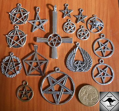 PENTAGRAM Wicca Mixed Silver Charm Pendants. 16 Pieces. DIY Jewellery. Pagan,