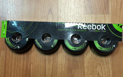 Reebok Multi Surface Replacement Wheels! Inline Roller Skate Wheels, 4x 68mm 78A