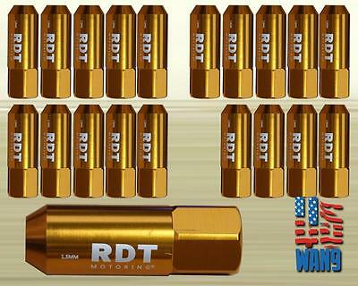 Gold M12x1.5 60mm Aluminum Tuner Racing Wheel Lug Nut 20pcs for Honda Acura