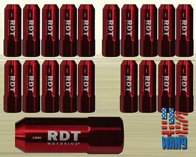 Red M12x1.5 60mm Aluminum Tuner Wheel Lug Nut 20pcs for Chevy Dodge Jeep GMC