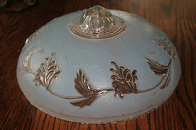 Art Deco 1930s 3 hole Ceiling Glass Shade Blue Embossed Leaf Hobnail Scalloped