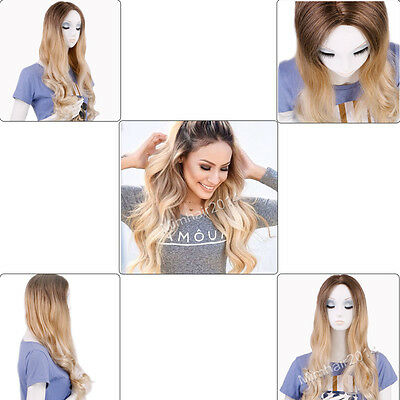 Lady Ombre Brown to Light Golden Blonde Fashion Wavy Hair Full Wigs with Net Cap