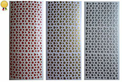MINI HEARTS & STARS Peel Off Stickers Card Making Gold, Silver or Red