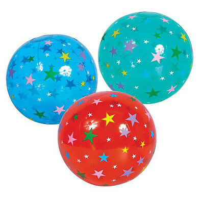 16 Inch Red Star Inflatable Blow Up Novelty Beach Ball - Kids Fun Summer Toy