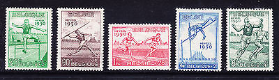 BELGIUM 1950 European Athletic Championships set of 5 - mounted mint cat £95