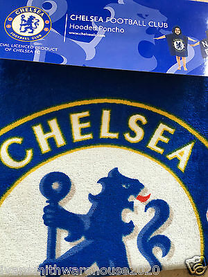 Childrens TowelIing Hooded Poncho Chelsea FC Fully licenced Kids Swimming