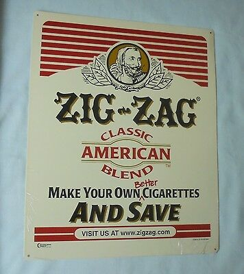 Zig Zag Rolling Papers Classic American Blend Cigarettes Retail Metal Tin Sign