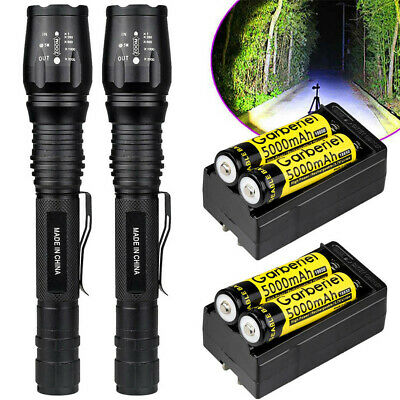 2 x Ultrafire 90000 Lumens 5 Modes T6 LED Flashlight Torch 18650 Battery+Charger