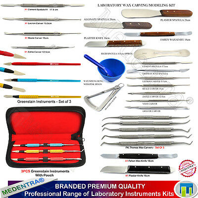 Range Of Professional Dental Wax Carving Kit Amalgam Carvers Mixing Spatula Lab