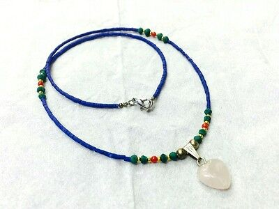 Afghan Natural Lapis Lazuli, Malachite Tiny Seed Beads Necklace with Rose Quartz