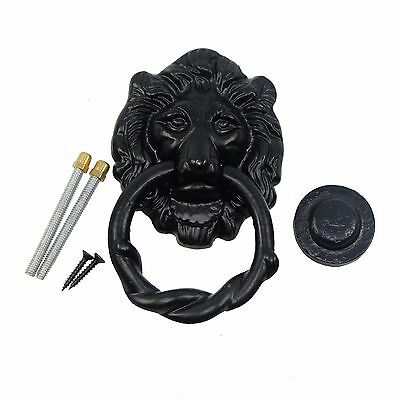 Nuvo Iron Antique Look Lion Head Iron Heavy Duty Ring Fancy Door Knocker - Black