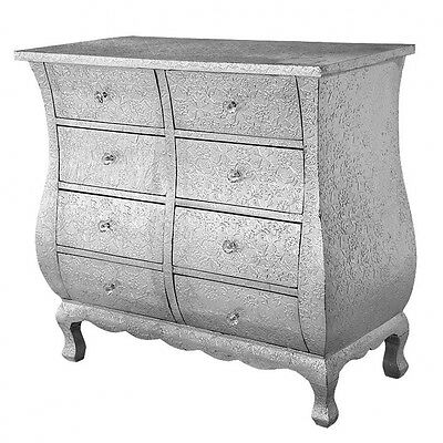 Silver Embossed Metal 8 Drawer Chest Of Drawers