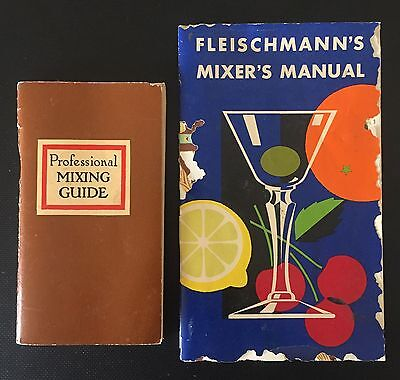 Lot Of 2 Vintage 1950's Drink Mixing Guide Pocket Booklets Professional & Modern