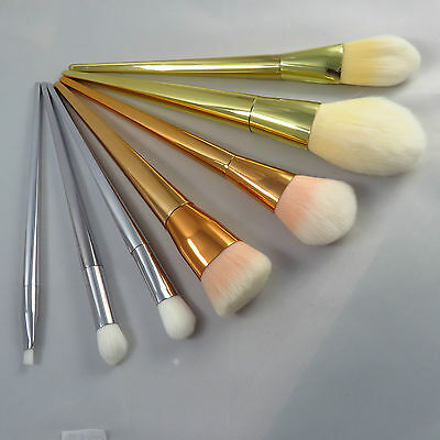 7 Marmaid Soft Makeup Brushes Set Rose Gold Professional Kit Synthetic Bristle