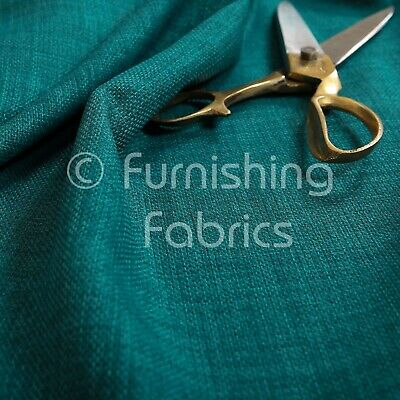 New Linen Effect Soft Lightweigh Upholstery Chenille Interior Fabric Teal Colour