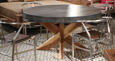 """55"""" Round dining table gray concrete cement poly-stone top distressed hardwood"""
