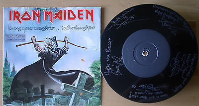 """Iron Maiden Bring Your Daughter To The Slaughter  7"""" Etched Vinyl Limitd Edition"""