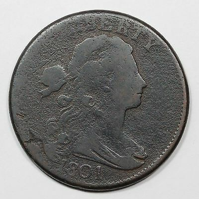 1801 S-221 R-2 Corrected Fraction Draped Bust Large Cent Coin 1c